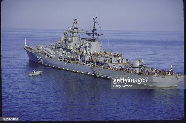 Russian Navy ships sailing south of the entrance to the Straits of Hormuz in the Persian Gulf area