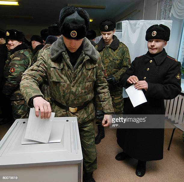 Russian Navy troops cast their ballots for Russia's next president in the far eastern port Vladivostok on March 2 2008 Polls opened on the Pacific...