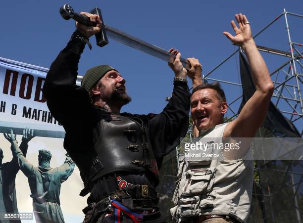 Russian Night Wolves Bikers Club Leader Alexander Zaldostanov also known as 'Khirurg' holds a metal sword during the Sevastopol Bike Show 2017 event...