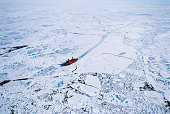 Russian nuclear icebreaker clearing path to North Pole, aerial view
