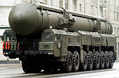 """Russian nuclear missile """"Topol-M"""" in military parade, Moscow, Russia"""