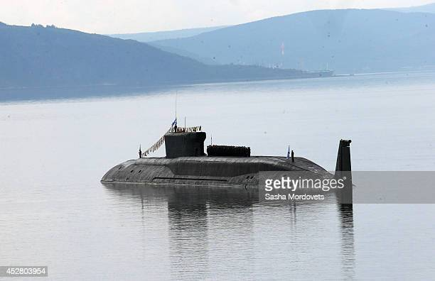 Russian nuclear submarine Yuri Dolgorukiy is seen during the Navy Day Military parade July 2014 in Severomorsk Putin is having a visit to Northern...