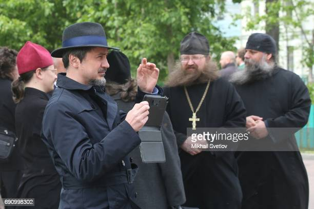 Russian OldRire Church belivers are seen in front of the Pokrovsky Cathedral while visiting Russian Orthodox OldRite Church at Rogozhskoye Cemetery...