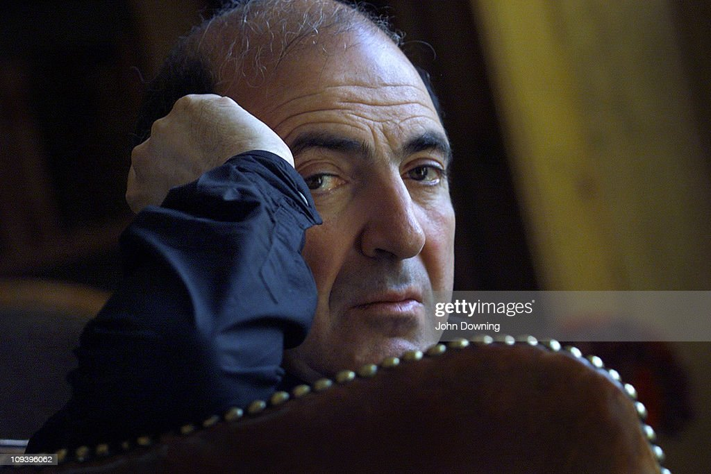 Russian oligarch and businessman Boris Berezovsky at his home in Egham, Surrey, where he lives in exile, 24th August 2002