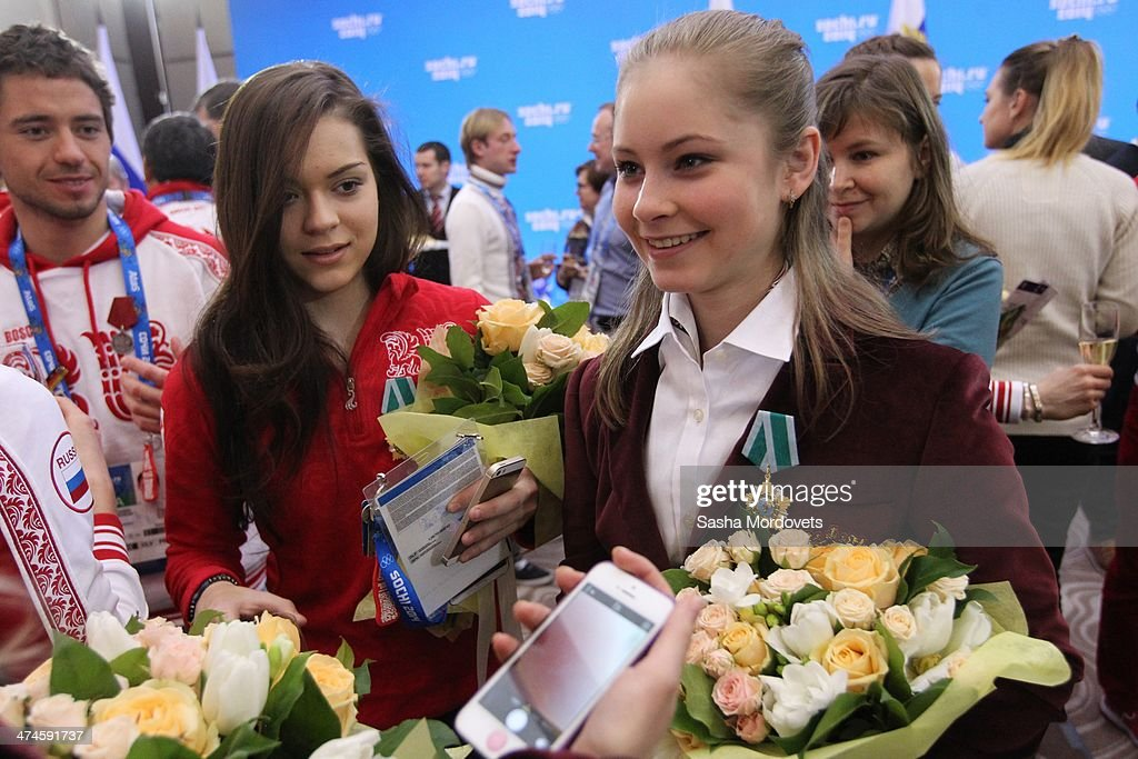 Russian Olympic gold medalists in figure skating Adelina Sotnikova (L) and Yulia Lipnitskaya speak to teh media during an awards ceremony for Russian Olympic athletes on February 24, 2014 in Sochi, Russia. Russian President Vladimir Putin presented awards to members of the Russian Olympic team a day after the closing ceremony of the 2014 Winter Olympics, in which Russia topped the medals table with 13 gold, 11 silver and 9 bronze medals.