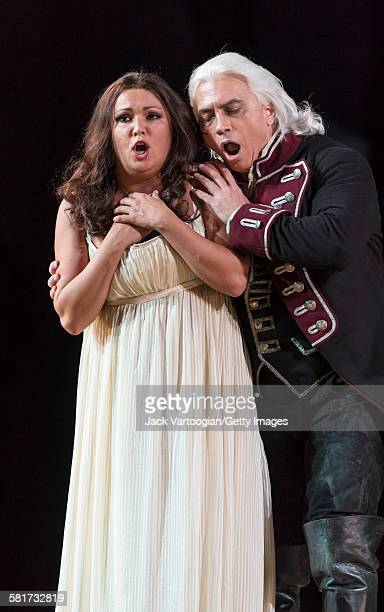 Russian operatic soprano Anna Netrebko and baritone Dmitri Hvorostovsky perform at the final dress rehearsal prior to the season premiere of the...