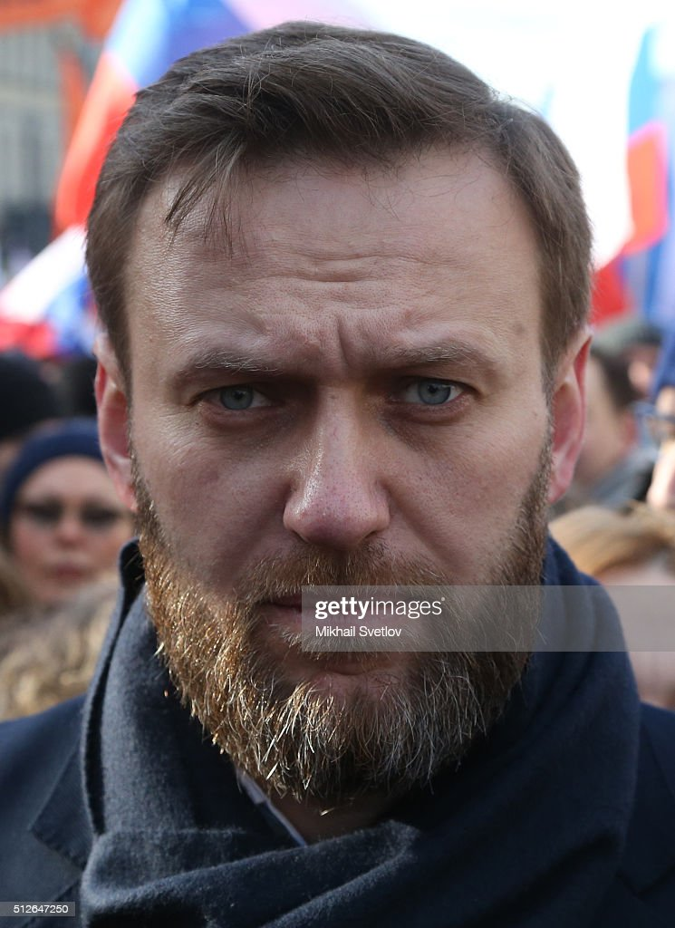 Russian opposition leader Alexei Navalny attends a mass march marking the one-year anniversary of the killing of opposition leader Boris Nemtsov on February 27, 2016 in Moscow, Russia. Several thousand people held a march in Moscow in memory of the Russian opposition leader to mark the first anniversary of his killing.