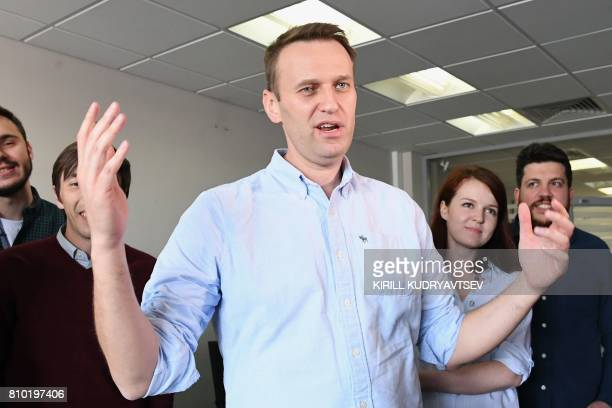Russian opposition leader Alexei Navalny makes a statement for media in his office in Moscow on July 7 shortly after beeing released from jail...