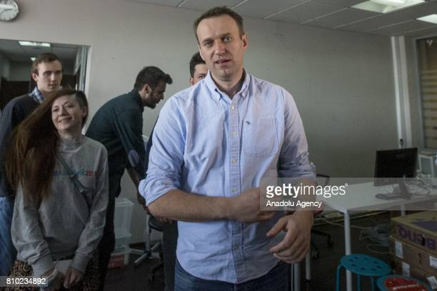Russian opposition leader Alexei Navalny speaks to media in his office after being released from jail aftermath of 25 days in jail for organising...