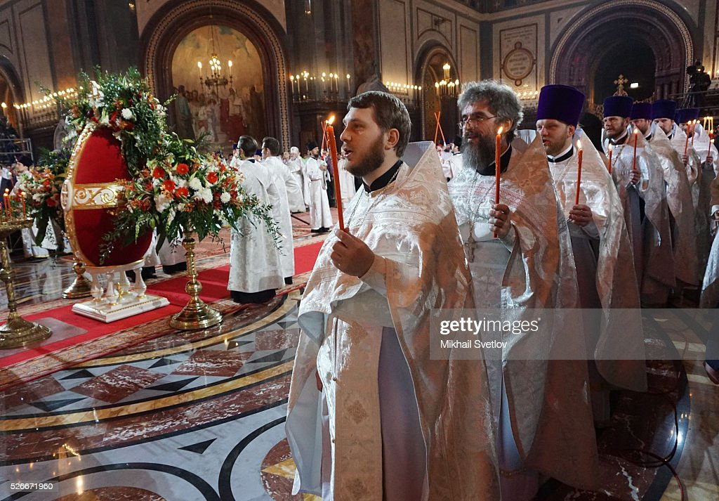 Russian Orthodox bishops atttend an Orthodox Easter mass at the Christ The Saviour Catherdal, in Moscow, Russia, May,1, 2016. Russian President <a gi-track='captionPersonalityLinkClicked' href=/galleries/search?phrase=Vladimir+Putin&family=editorial&specificpeople=154896 ng-click='$event.stopPropagation()'>Vladimir Putin</a>, Moscow Mayor Sergei Sobyanin, Prime Minister Dmitry Medvedev and his wife Svetlana took part an Orthodox Easter service held by Patriarch Kirill at the biggest Russian Orthodox Cathedral.