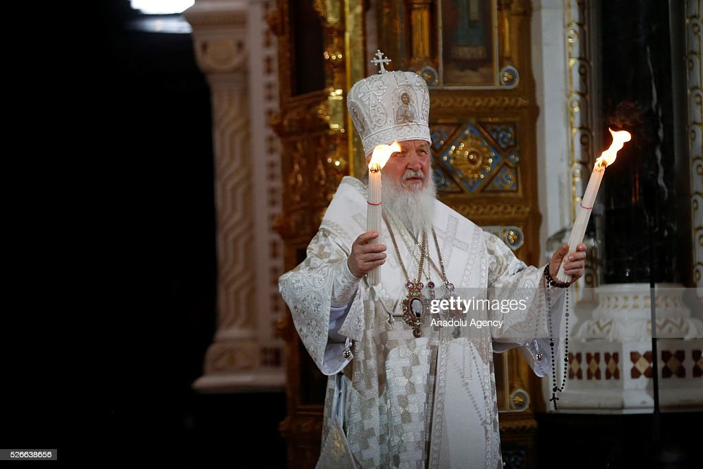 Russian Orthodox Christians attend the Easter service led by Patriarch Kirill of Russia in Christ the Savior Cathedral in Moscow on April 30, 2016.