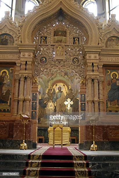 Russian orthodox Church of the Resurrection or Chruch on the Spiled bloodrussian churchs are decorated with religious syblis 1 August 2011