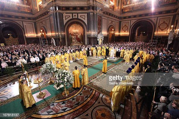Russian Orthodox Church Patriarch Kirill I attends an Orthodox Christmas service at Christ The Savior Cathedral in the early hours of January 7 2011...