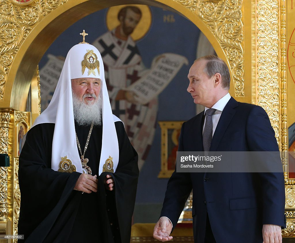 Russian Orthodox Patriarch Kirill (L) and President <a gi-track='captionPersonalityLinkClicked' href=/galleries/search?phrase=Vladimir+Putin&family=editorial&specificpeople=154896 ng-click='$event.stopPropagation()'>Vladimir Putin</a> (R) are seen visiting the restored St. Vladimir Equal-to-the-Apostles Church under the Moscow Eparchial House. Restoration of the eparchial house and the church has been conducted to celebrate 1000th anniversary of the repose of the Holy Equal-to-the-Apostles Great Prince Vladimir.