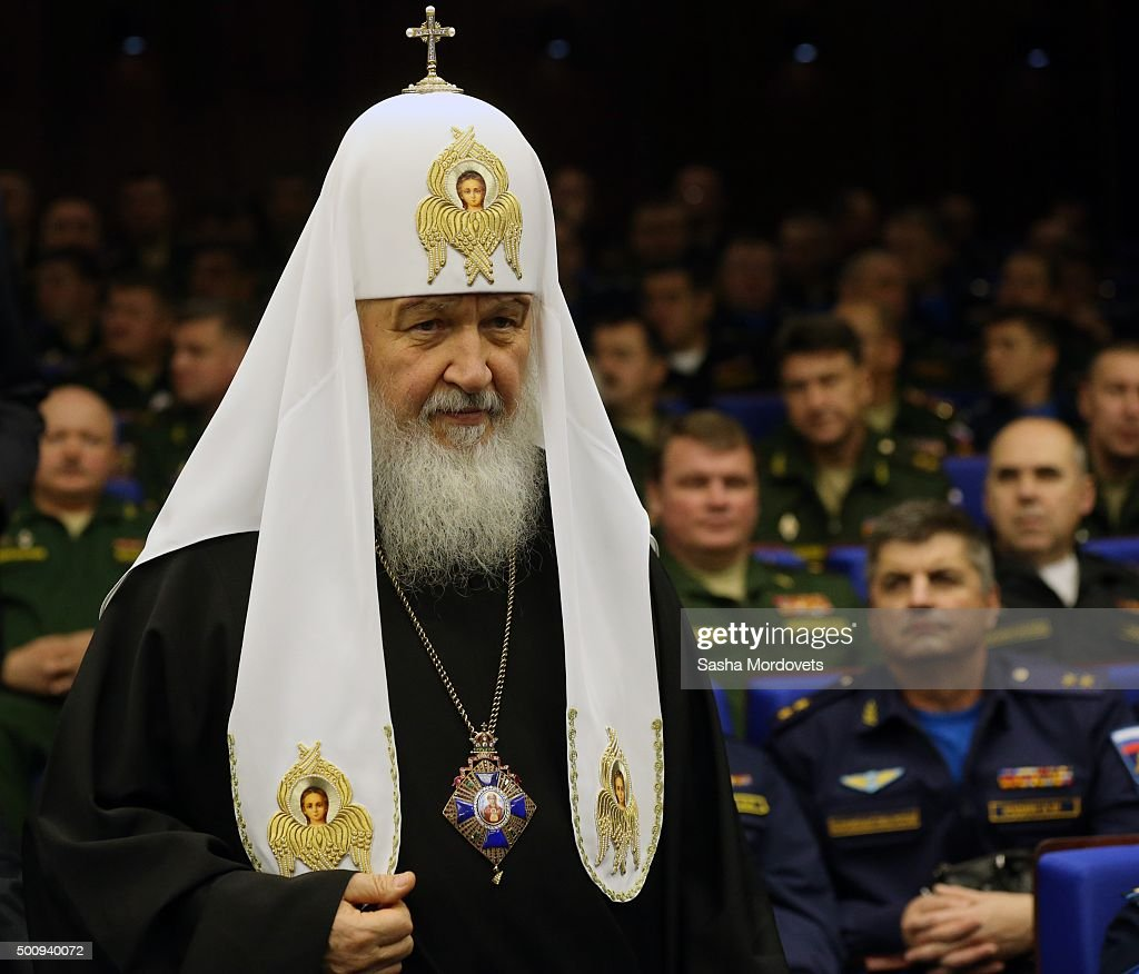 Russian Orthodox Patriarch Kirill attends an annual meeting with high ranking officers of the Defence Ministry Board on December 11, 2015 in Moscow, Russia.. The President instructed that in undertaking its anti-terrorist operation in Syria, the Ministry of Defense must coordinate its actions with Israeli command and the US-led anti-Daesh coalition.