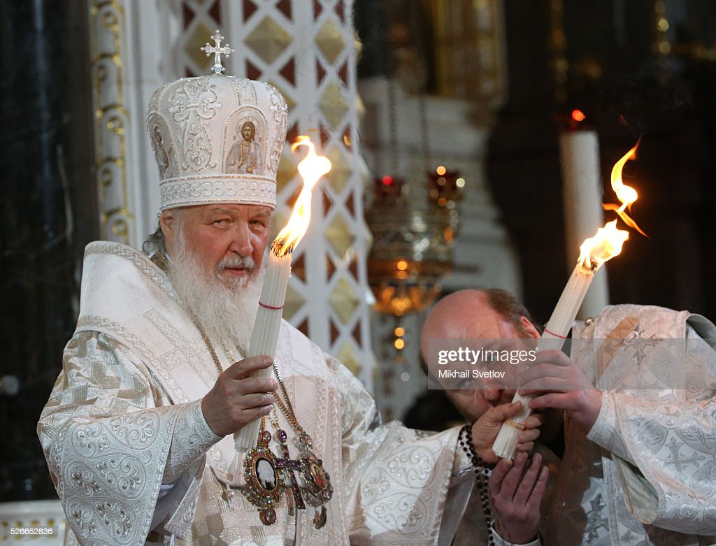 Russian Orthodox Patriarch Kirill (L) attends an Orthodox Easter mass at the Christ The Saviour Catherdal, in Moscow, Russia, May,1, 2016. Russian President Vladimir Putin, Moscow Mayor Sergei Sobyanin, Prime Minister Dmitry Medvedev and his wife Svetlana took part an Orthodox Easter service held by Patriarch Kirill at the biggest Russian Orthodox Cathedral.
