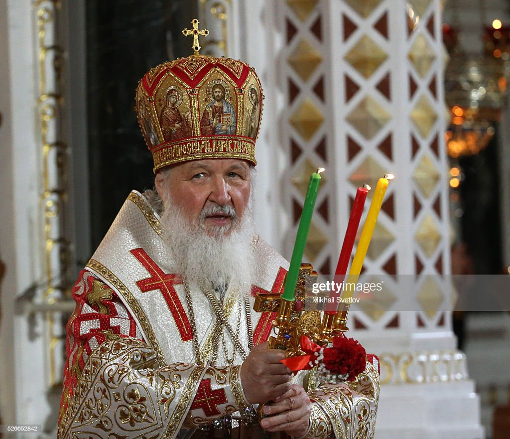 Russian Orthodox Patriarch Kirill attends an Orthodox Easter mass at the Christ The Saviour Catherdal, in Moscow, Russia, May,1, 2016. Russian President Vladimir Putin, Moscow Mayor Sergei Sobyanin, Prime Minister Dmitry Medvedev and his wife Svetlana took part an Orthodox Easter service held by Patriarch Kirill at the biggest Russian Orthodox Cathedral.