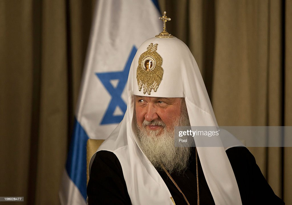 Russian Orthodox Patriarch Kirill looks on during his meeting with Israel's President Shimon Peres on November 11, 2012 at the President's residence in Jerusalem, Israel. This is Kirill's first visit to Israel since becoming head of the church in 2009.