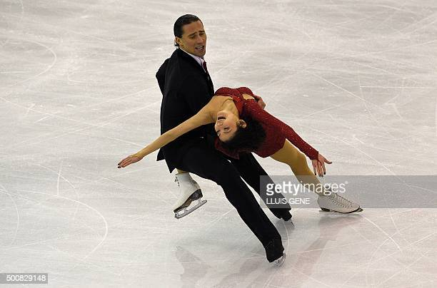 Russian pair skaters Yuko Kavaguti and Alexander Smirnov compete during the pairs short program of the ISU Grand Prix of Figure Skating Final 2015 in...