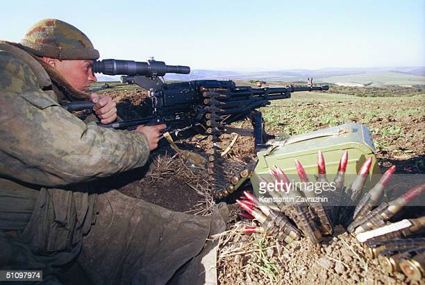 A Russian Paratrooper Patrols The Russian/Chechen Border Sunday September 26 1999 Moscow Launched Its Bombing Campaign Against Separatist Chechnya...