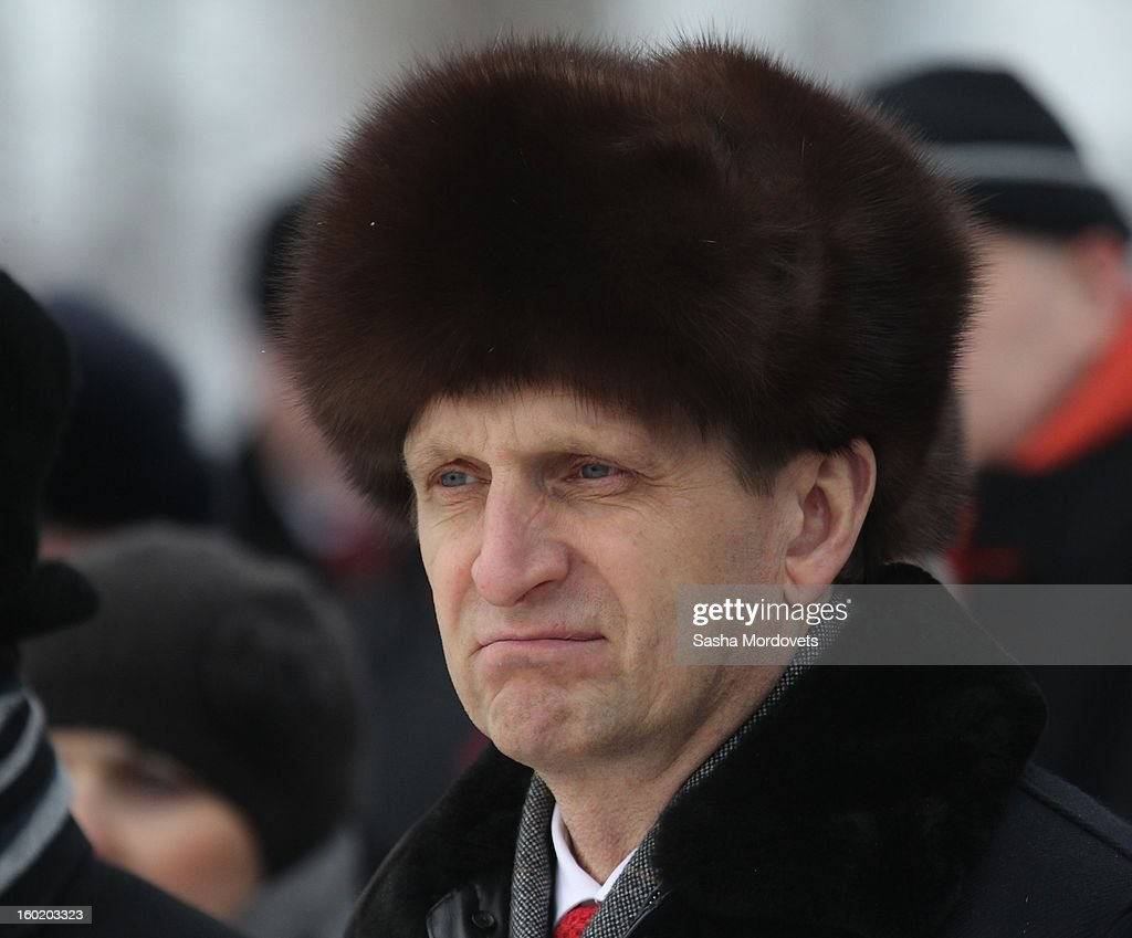 Russian parliament (State Duma) speaker Sergey Naryshkin attends a ceremony celebrating the 68th anniversary of the liberation of the Auschwitz Birkenau concentration camp January 27, 2013 near Oswiecim, Poland. Naryshkin had visited Auschwitz during International Holocaust Remembrance Day.