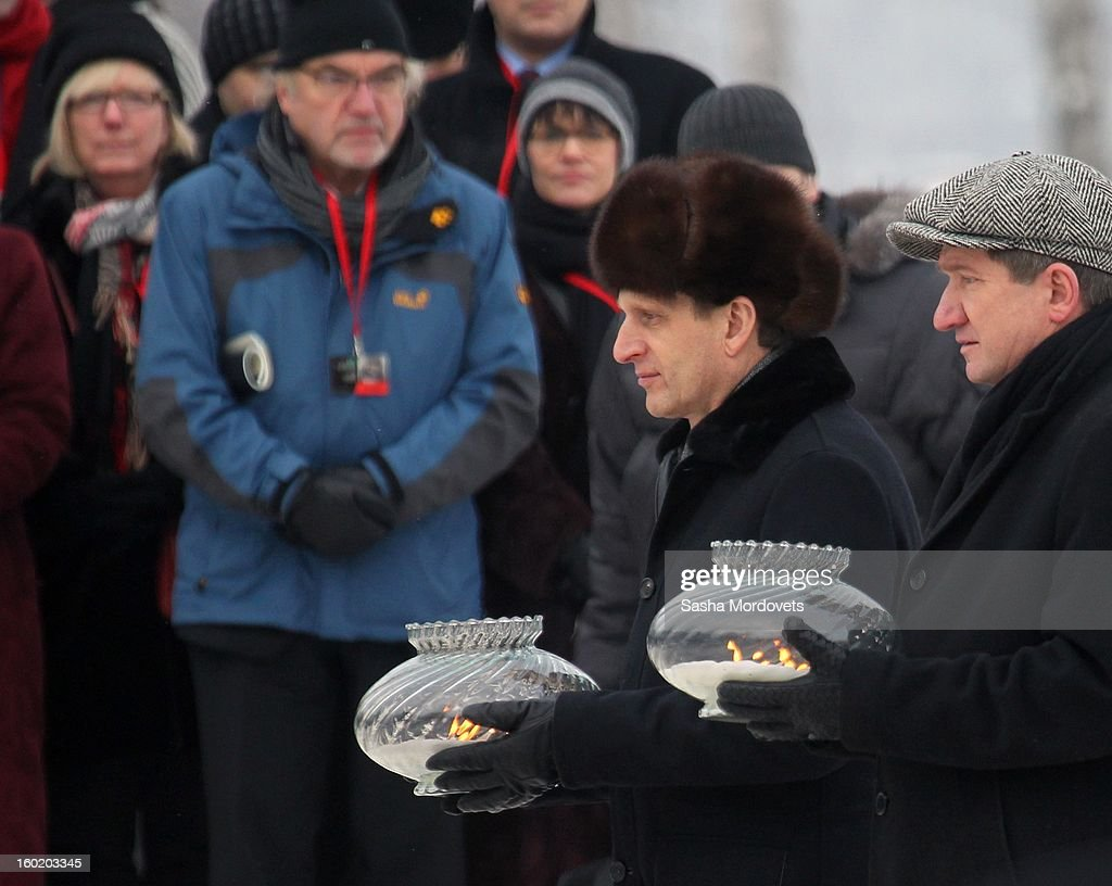 Russian parliament (State Duma) speaker Sergey Naryshkin (L) attends a ceremony celebrating the 68th anniversary of the liberation of the Auschwitz Birkenau concentration camp January 27, 2013 near Oswiecim, Poland. Naryshkin had visited Auschwitz during International Holocaust Remembrance Day.