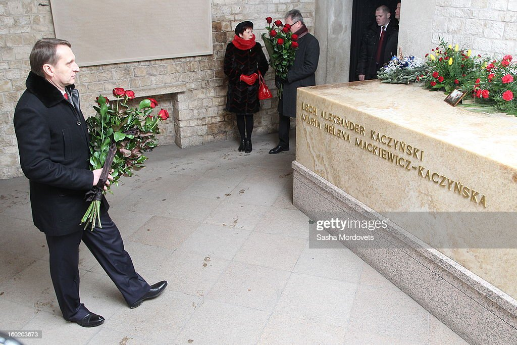 Russian parliament (State Duma) speaker Sergey Naryshkin leaves flowers at the grave of former President of Poland Lech Kaczynski January 27, 2013 in Krakow, Poland. Naryshkin spoke at a ceremony marking the 68th anniversary of the liberation of Auschwitz during International Holocaust Remembrance Day.