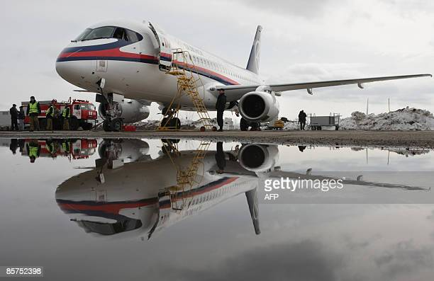 A Russian passenger Sukhoi Superjet 100 aircraft sits on an airstrip outside Moscow on April 1 2009 just after landing The plane seen as a potential...