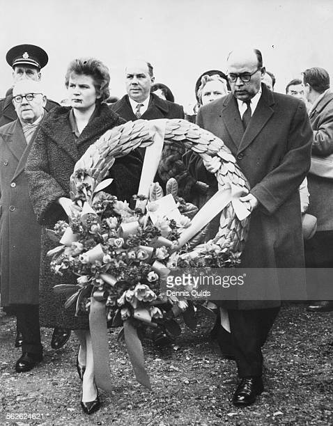 Russian pilot and astronaut Valentina Tereshkova and Russian Ambassador to Britain Alexander Soldatov holding a wreath as they arrive at the tomb on...
