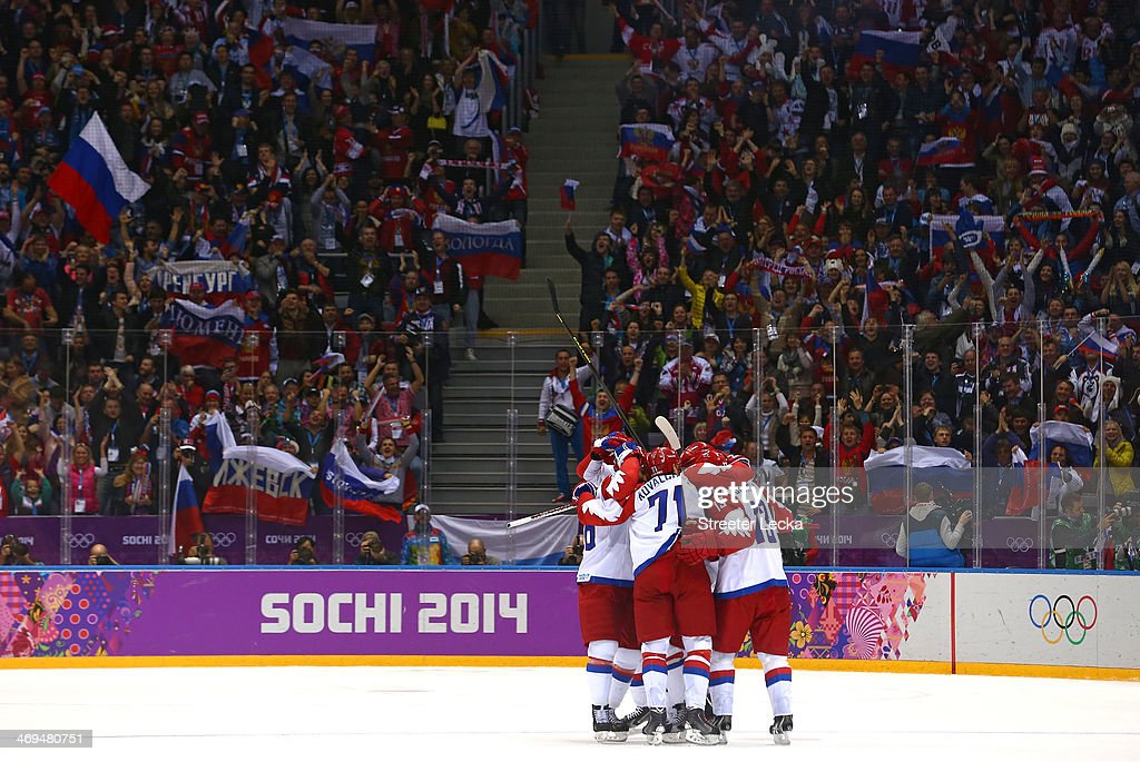 Russian players celebrate after scoring a disallowed goal against the United States during the Men's Ice Hockey Preliminary Round Group A game on day eight of the Sochi 2014 Winter Olympics at Bolshoy Ice Dome on February 15, 2014 in Sochi, Russia.