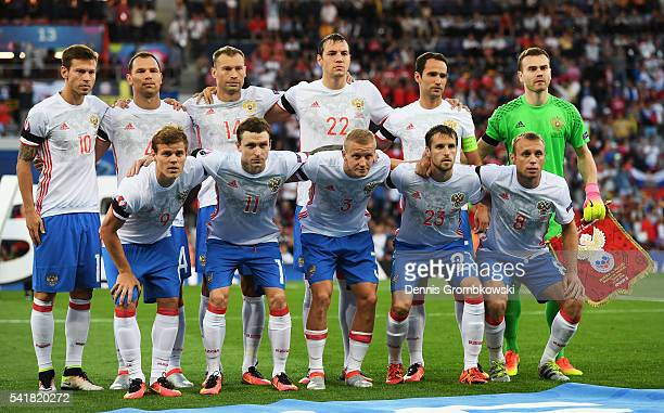 Russian players line up for the team photos prior to the UEFA EURO 2016 Group B match between Russia and Wales at Stadium Municipal on June 20 2016...