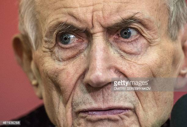 Russian poet novelist and literature professor Yevgeny Yevtushenko looks on during a meeting with readers in Moscow on January 21 2015 AFP PHOTO /...