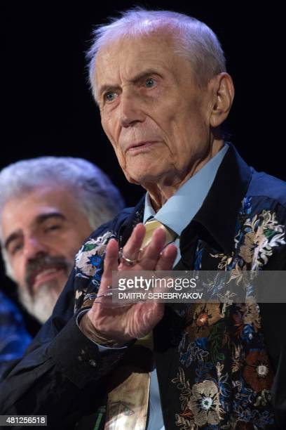 Russian poet novelist and literature professor Yevgeny Yevtushenko looks on during a meeting with readers in Moscow on July 18 2015 AFP PHOTO /...