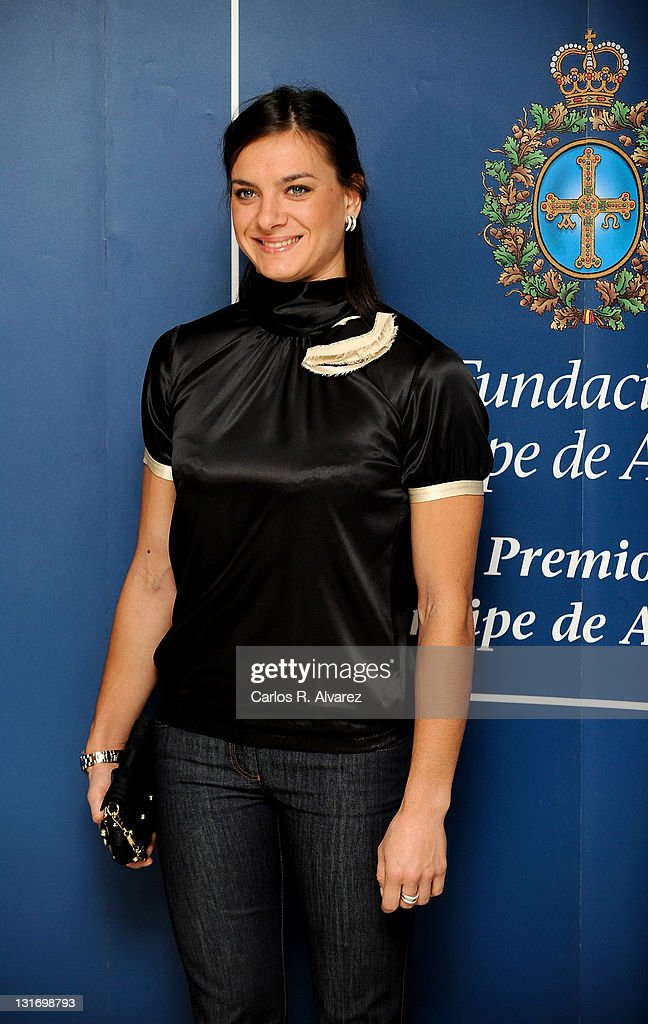 Russian pole vaulter Yelena Isinbayeva attends a press conference during Prince of Asturias Awards 2009 at Hotel Reconquista on October 23, 2009 in Asturias, Spain.