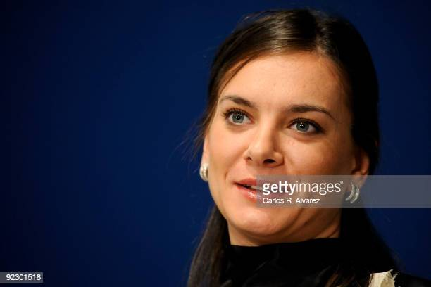 Russian pole vaulter Yelena Isinbayeva attends a press conference during Prince of Asturias Awards 2009 at Hotel Reconquista on October 23 2009 in...