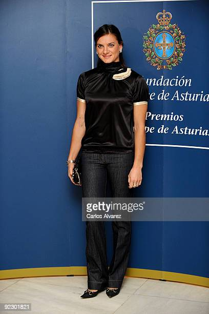 Russian pole vaulter Yelena Isinbayeva attends a press conference during the Prince of Asturias Awards 2009 at Hotel Reconquista on October 23 2009...