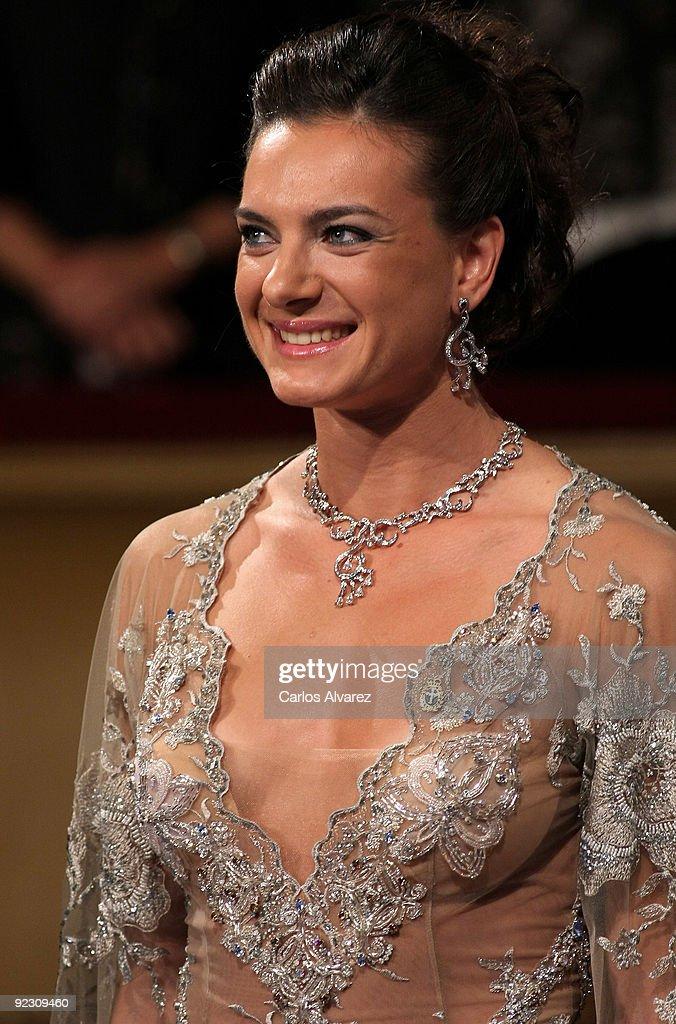 Russian pole vaulter Yelena Isinbayeva attends Prince of Asturias Awards 2009 ceremony at 'Campoamor' Theater on October 23, 2009 in Oviedo, Spain.