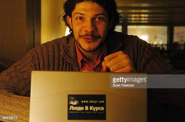 Russian political student and opposition webmaster Alexander Korsunov sits at his computer on March 7 2005 in Moscow Russia Korsunov created the...