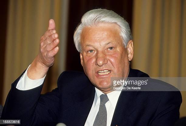 Russian politician Boris Yeltsin in London 27th April 1990