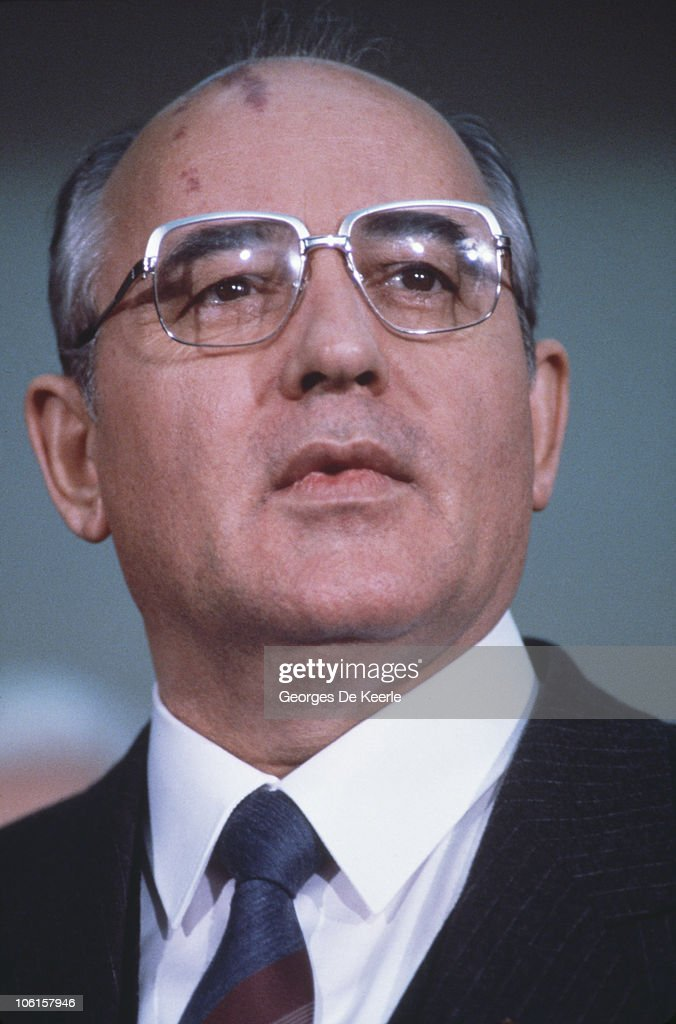 Russian politician <a gi-track='captionPersonalityLinkClicked' href=/galleries/search?phrase=Mikhail+Gorbachev&family=editorial&specificpeople=93773 ng-click='$event.stopPropagation()'>Mikhail Gorbachev</a> during a visit to Edinburgh, 21st December 1984.