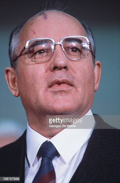 Russian politician Mikhail Gorbachev during a visit to Edinburgh 21st December 1984