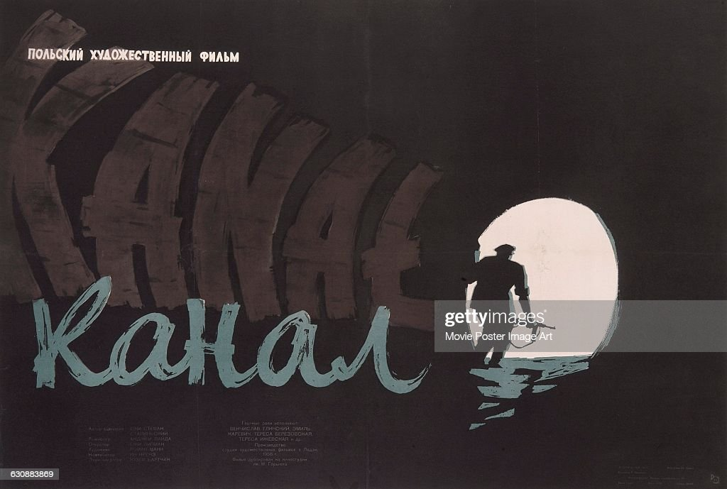 Resultado de imagem para Detail from the Russian poster for the 1957 Polish film Kanal, directed by Andrzej Wajda and set during the 1944 Warsaw Uprising. Photo by Getty