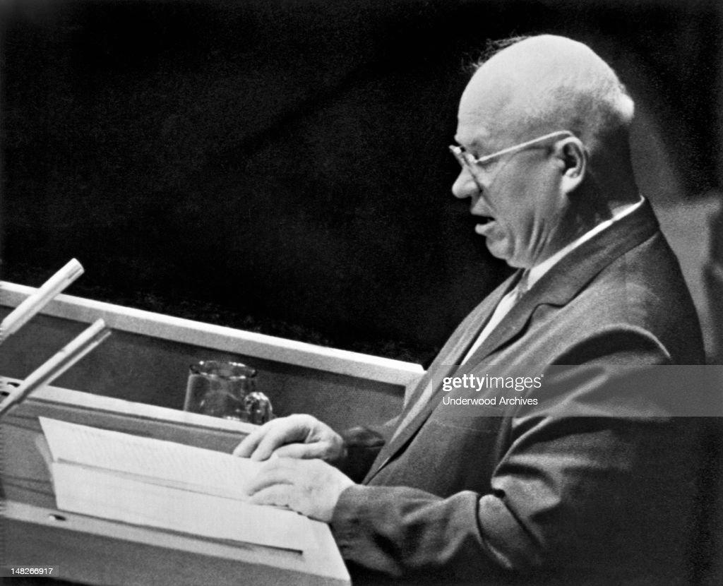 Russian Premier Nikita Khrushchev speaks to the United Nations General Assembly in New York New York New York September 23 1960