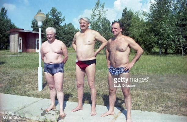 Russian President Boris Yeltsin accompanied by Russian Prime Minister Ivan Silayev during a short holiday in Kyrgyzstan USSR in July 1991