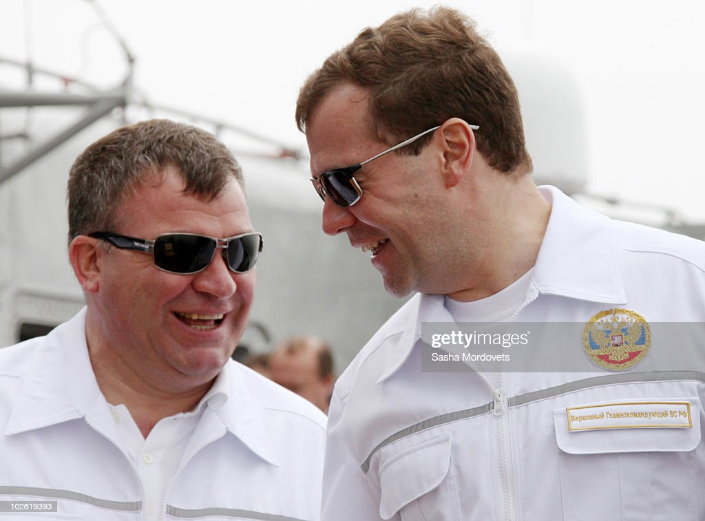 Russian President <a gi-track='captionPersonalityLinkClicked' href=/galleries/search?phrase=Dmitry+Medvedev&family=editorial&specificpeople=554704 ng-click='$event.stopPropagation()'>Dmitry Medvedev</a> and Defence Minister <a gi-track='captionPersonalityLinkClicked' href=/galleries/search?phrase=Anatoly+Serdyukov&family=editorial&specificpeople=4162784 ng-click='$event.stopPropagation()'>Anatoly Serdyukov</a> (L) watch military excercises as he tours the heavy nuclear cruiser Pyotr Velikiy (Peter The Great) July 4, 2010 near Vladivostok, Russia. Medvedev is on a working visit to the far east federal district where he will visit Vladivostok to watch the military exercise East 2010 from the cruiser�s command post and see APEC summit construction sites.