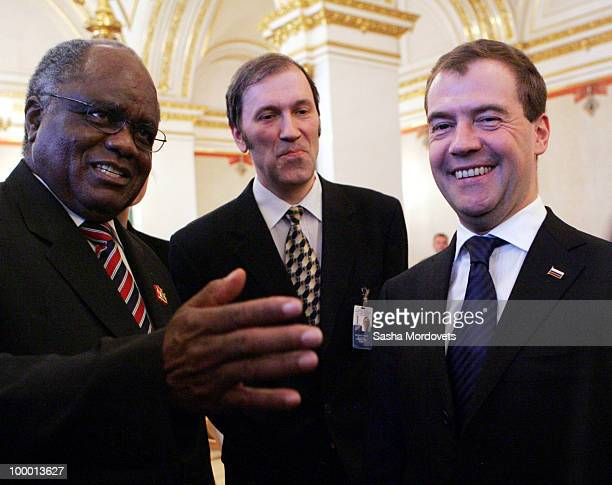 Russian President Dmitry Medvedev and Namibian President Pohamba meets with members of the delegation at the Kremlin on May 20 2010 in Moscow Russia...