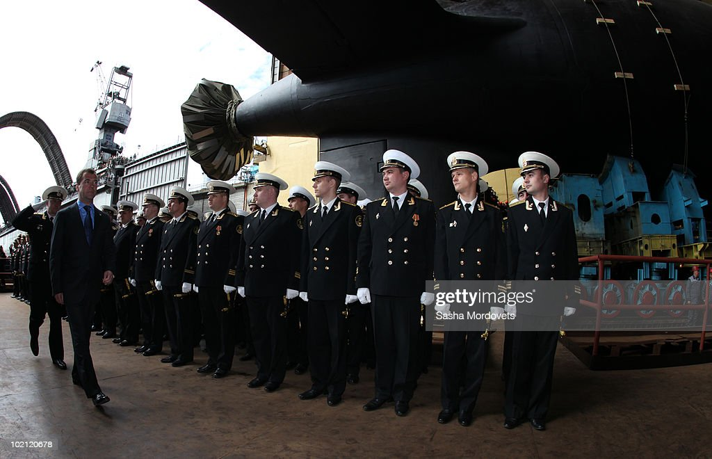 Russian President Dmitry Medvedev arrives at a ceremony to launch the multipurpose nuclear submarine 'Severodvinsk' at the Sevmash shipyard June 15, 2010 in the Northern Russian city of Severodvinsk in Arkhanguelsk region, Russia. The 'Severodvinsk' submarine, which carries 24 cruise missiles, was launched after a short delay caused by technical reasons.