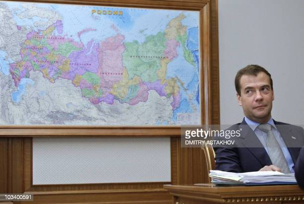 Russian President Dmitry Medvedev attends a meeting at the presidential residence in Sochi on August 14 2010 The Kremlin accused the strongman...