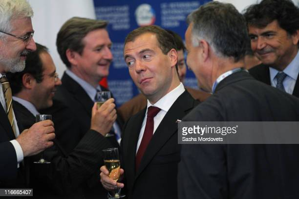 Russian President Dmitry Medvedev attends a signing ceremony during the St Petersburg International Economic Forum on June 2011 in St Petersburg...