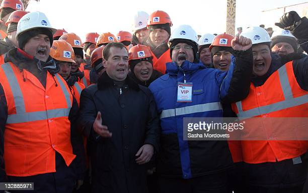 Russian President Dmitry Medvedev attends the opening of a newly built railway station on November 15 2011 in Yakutsk Yakutia Russia The station acts...